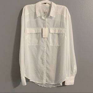 A New Day Button Down Blouse Cream Sz M NWT